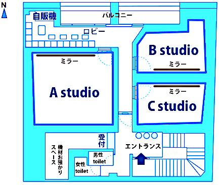 スタジオは3室。全室ミラー付きWi-Fi対応。